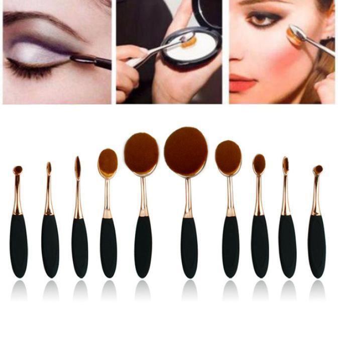 10PC / Set Brosse à dents Sourcils Eyeliner Fondation Lip Oval Pinceaux d'or