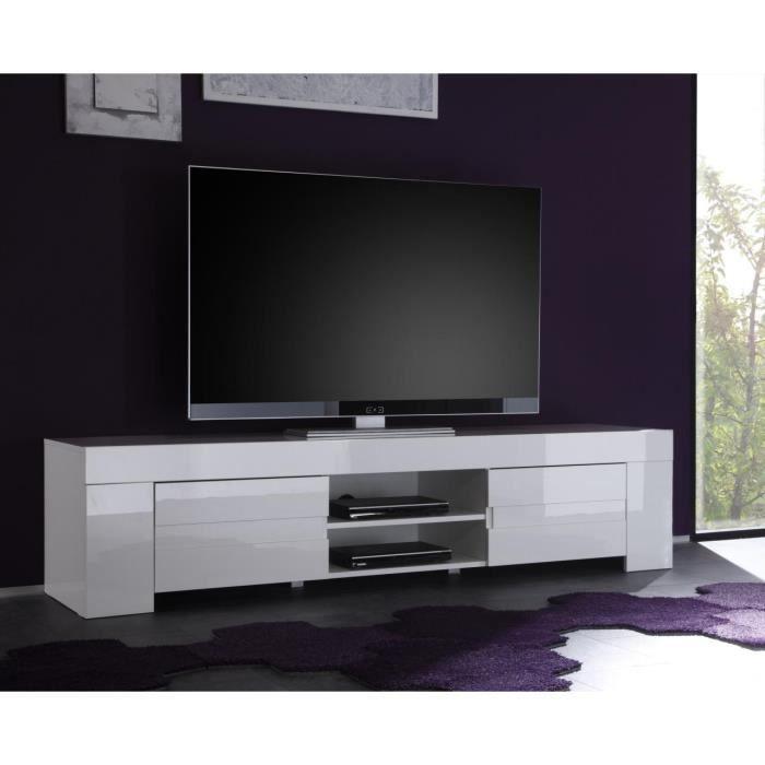 Meuble TV hifi blanc laqué design ESMERALDA L 191 x P 50 x H 45 cm Blanc