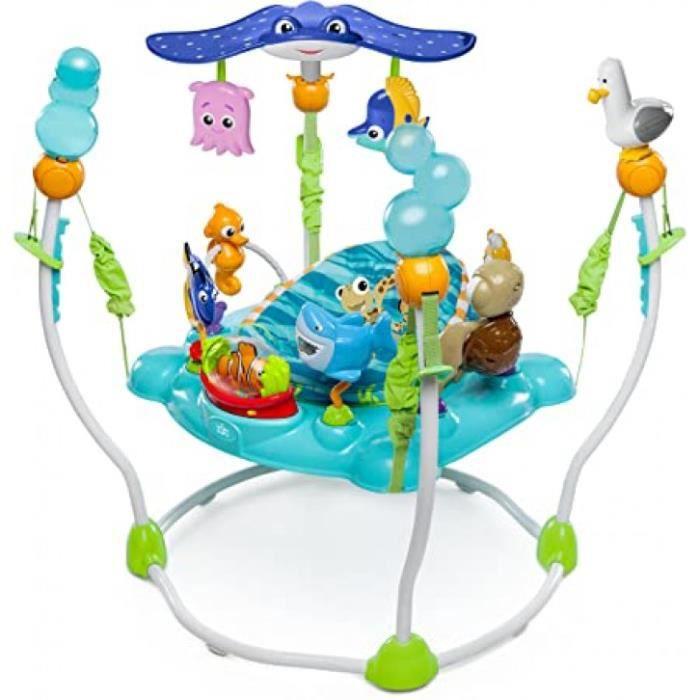 bright starts, disney baby aire d'eveil à rebonds le monde de nemo avec plus de 13 jouets et activités, musique et lumières, siège r