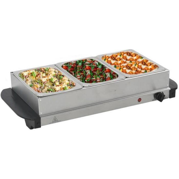 ��5047Magnifique EXCELLENT - Serveur buffet Chauffe - Chauffe-Plats Chafing Dish Plaque Chauffante - Acier inoxydable 200 W 3x1,5 L