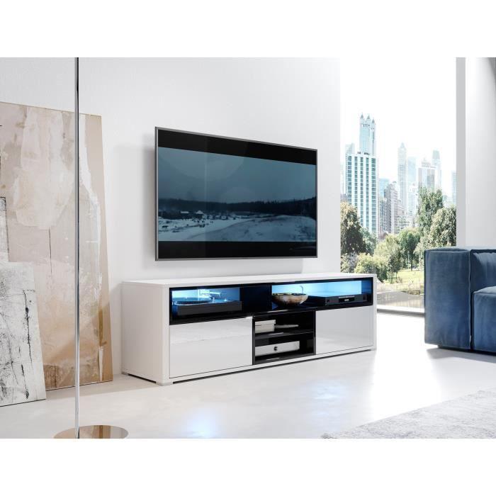 Meuble TV / Meuble de salon - MARIO - 140 cm - blanc mat / noir brillant - avec LED - 4 niches ouvertes - 2 compartiments fermés