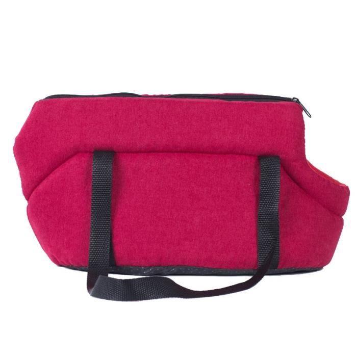 Sac de transport,Sac transporteur pour petits chiens gris Sac lavable pour animaux domestiques, sac à bandoulière - Type Rouge-L