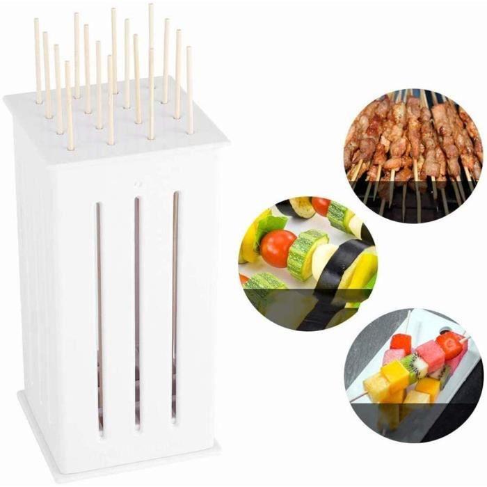LIUQIGRASS Brochette de Viande Machine, 16 Trous Barbecue Brochette Trancheuse Rosbif Portable Kebab boîte, légumes, Fruits, Outil d