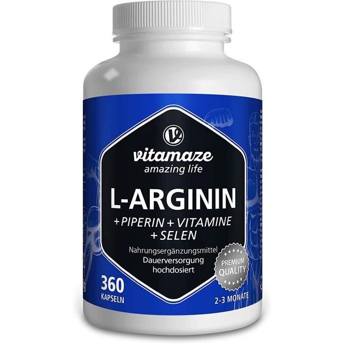 LArginine Gélules à Fort Dosage360 Capsules avec B6B12 + Acide Folique + Sélénium + PipérineQualité Allemandesans Additifs In 246
