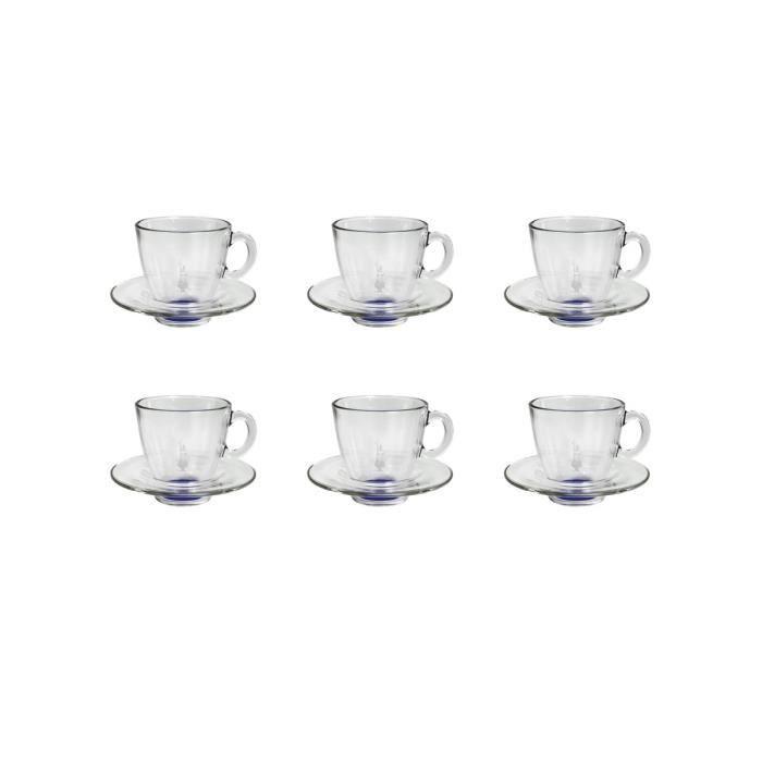 BIALETTI 6 tasses Expresso en verre 60ml transparent et bleu avec soucoupe