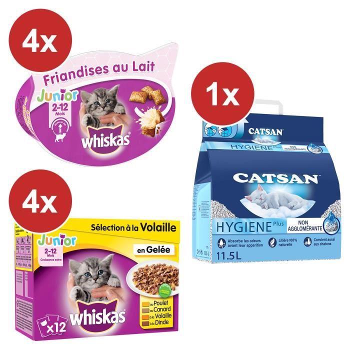 CATSAN WHISKAS Spécial chaton: Litière 11,5L+ Repas(48x100g) + Friandises(4x55g)