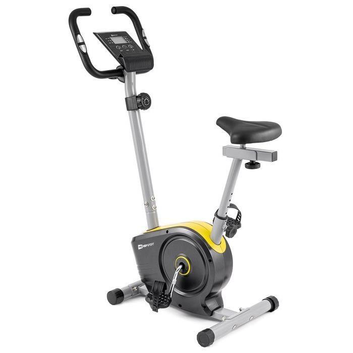 HOP-SPORT Vélo d'appartement HS-2050H Sonic – Roue d'inertie de 7kg- Max 120 KG - Vélo dimensions compactes - Réglable (Jaune)