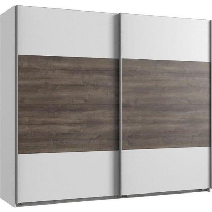 Armoire EVA portes coulissantes largeur 225 cm blanc / chêne châtaigne blanc Bois Inside75
