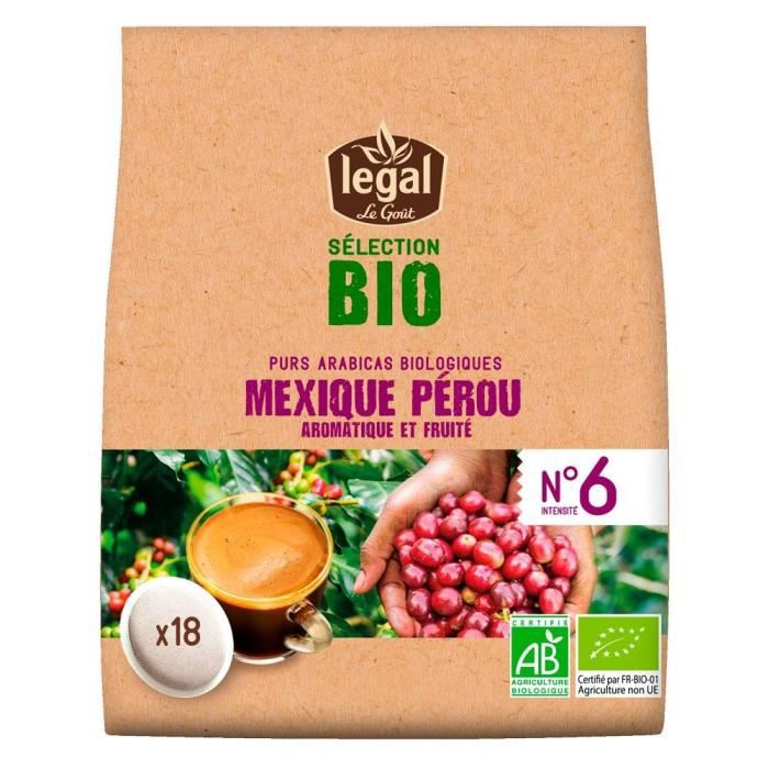 LEGAL Cafés Selection Bio Mexique Perou - 18 Dosettes - 125 g