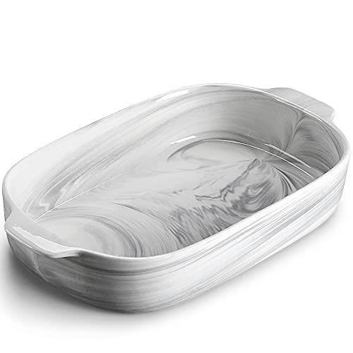 MALACASA Série Bake,Plat à Four Rectangulaire en Porcelaine Marbre- 36.5cm 3100ml - Moules à Pâtisserie Résistants Moules à Soufflé