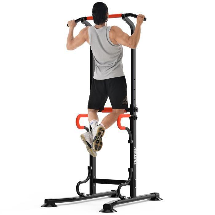 Barre de Traction Station de Musculation pour Musculation à Domicile Multifonction Dip Fitness Hauteur Réglable 170 cm à 220 cm Noir