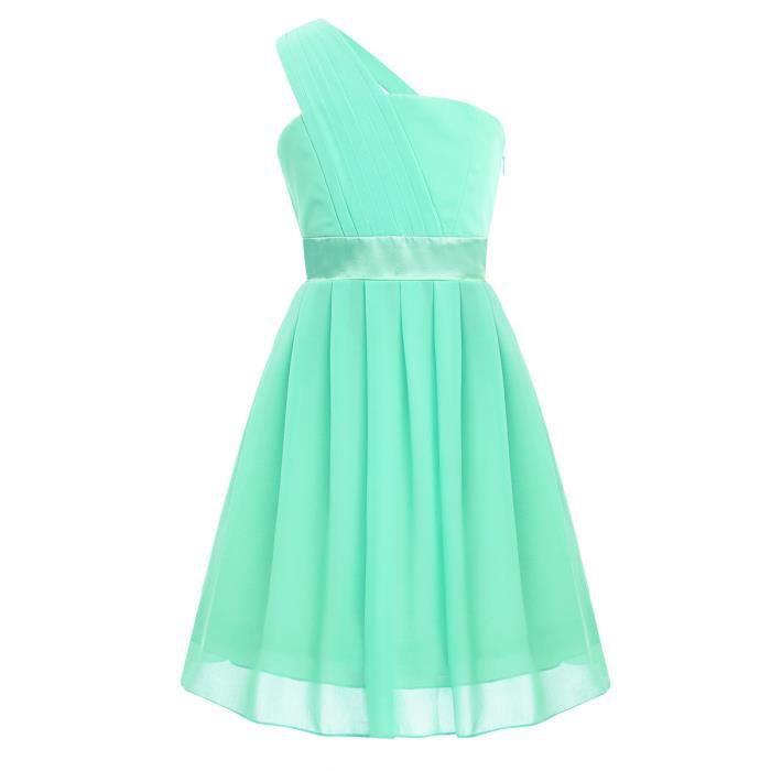 Robe de Mariage Courte Fille Enfant Robe de Demoiselle D'honneur Mousseline de Soie 4-14 Ans Vert clair