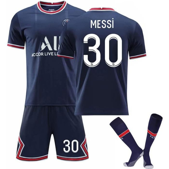 Messi No.30 Jersey - Messi 2021-2022 Home Away Jersey, Messi Football T-Shirt Jersey Set for Kids