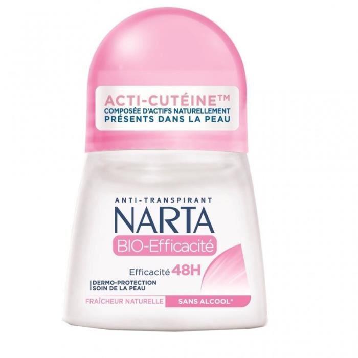 Narta Roll-on Anti-Transpirant Efficacité 48h Fraîcheur Naturelle 50ml (lot de 4)