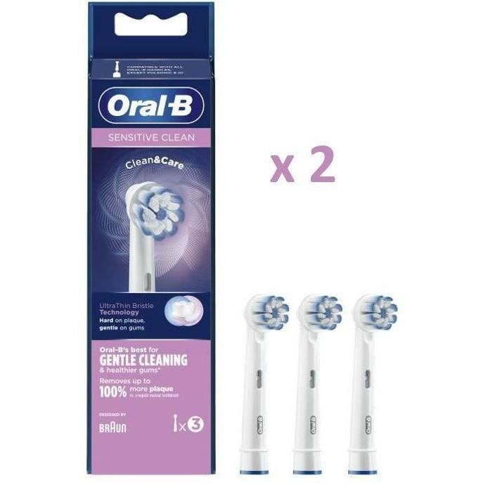 Oral-B - Pack de 2 : Sensitive Clean Brossette, 3 brossettes (x2) - Blanches