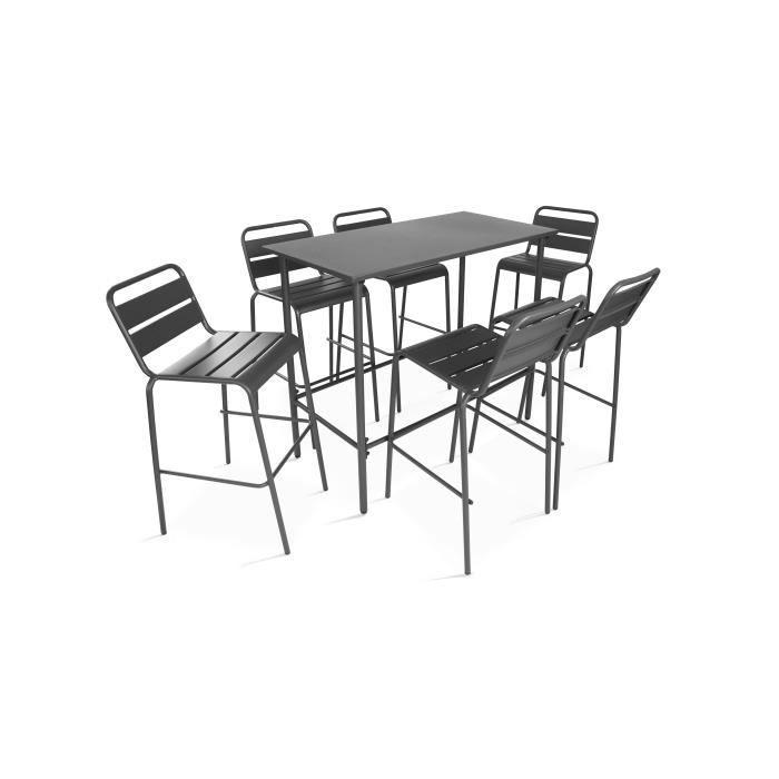 Ensemble repas haut, table haute et 6 tabourets en métal, Palavas Gris