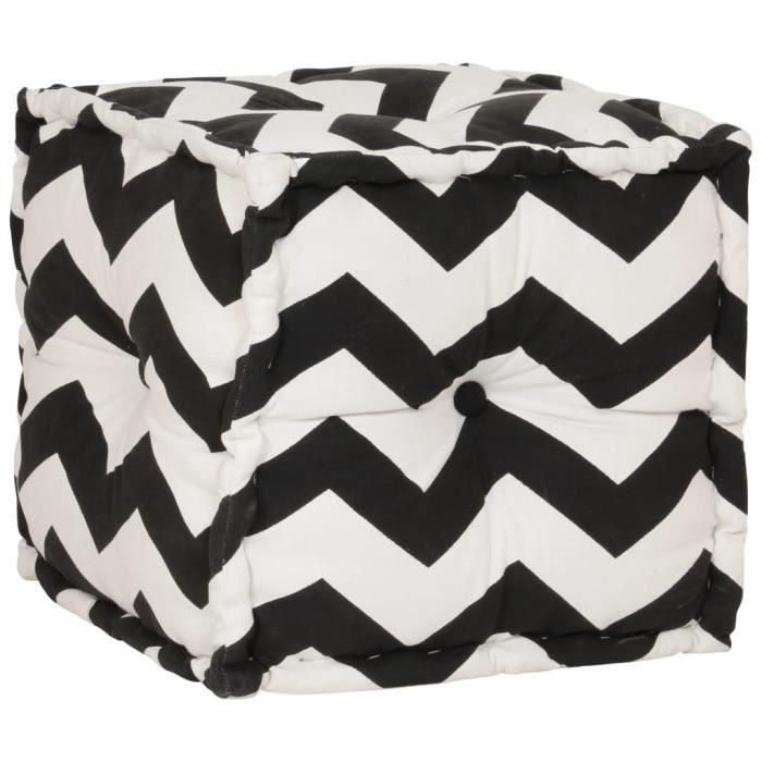 Pouf Coffre rangement salon chambre contemporain Cube en coton avec motif 40 x 40 cm Noir et blanc