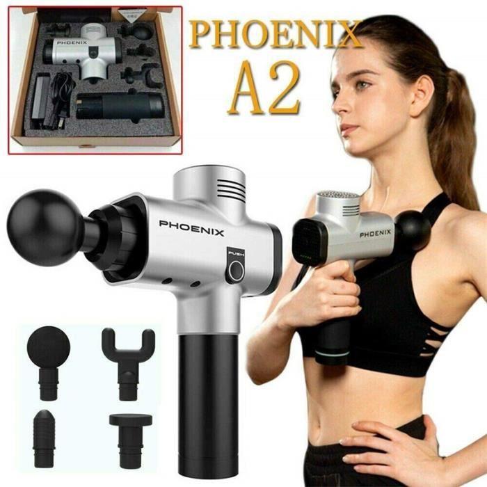 Phoenix A2 Massage Muscle Relaxation pistolet de Massage à la maison charge profonde dynamique thérapie vibrateur - Argenté