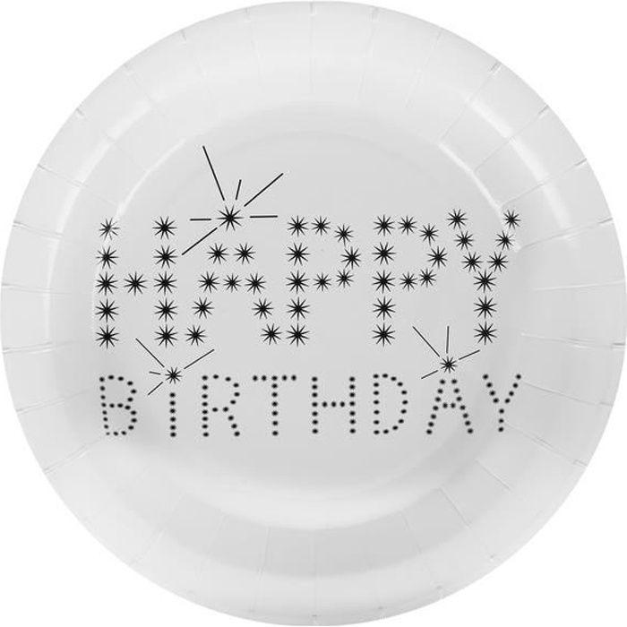 Assiette happy birthday blanche (joyeux anniversaire) (x10) R/4900 Matière carton