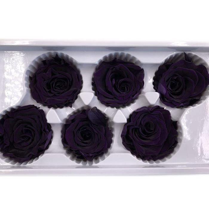 Éternelle Vie Rose- Blanc Immortelle Fleur Rose tête Valentin-Violet Foncé#1258