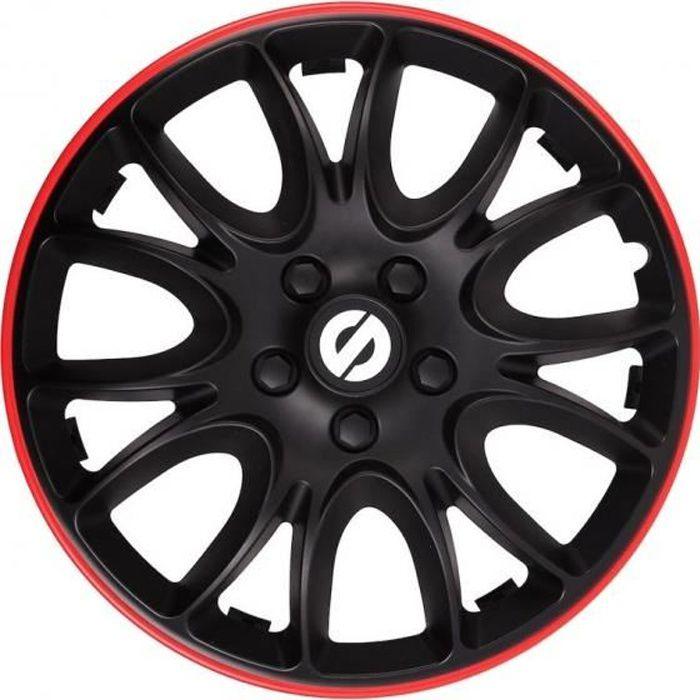 Sparco Enjoliveurs Veneto 14 pouces ABS noir / rouge lot de 4