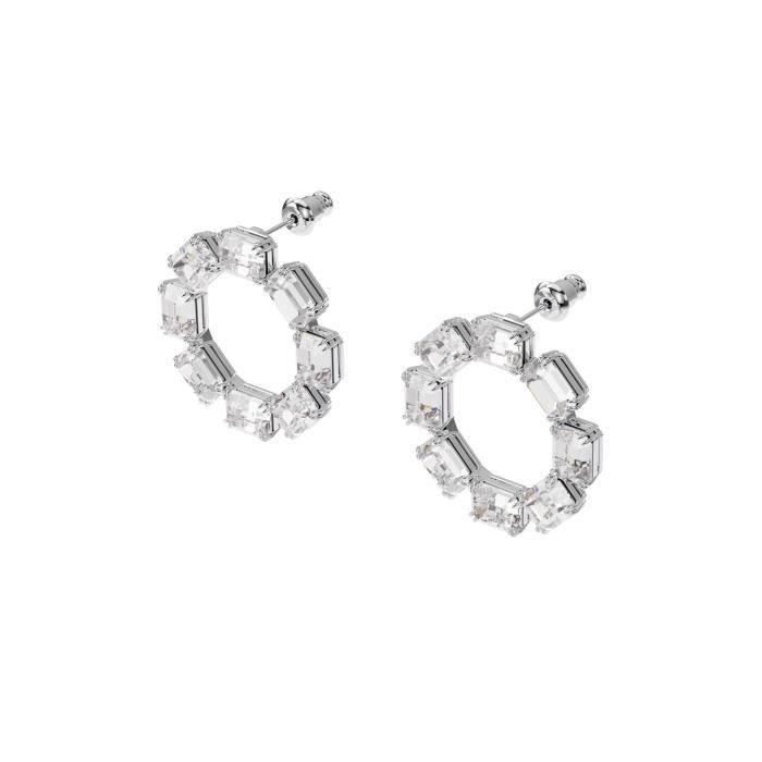 Boucles d'Oreilles femme - SWAROVSKI - Boucles d'oreilles Swarovski cercle Millenia - Couleur de la matière:Blanc