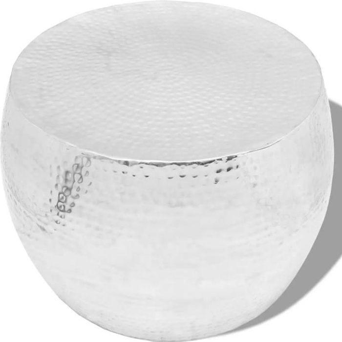 vidaXL Table basse ronde Aluminium Argent