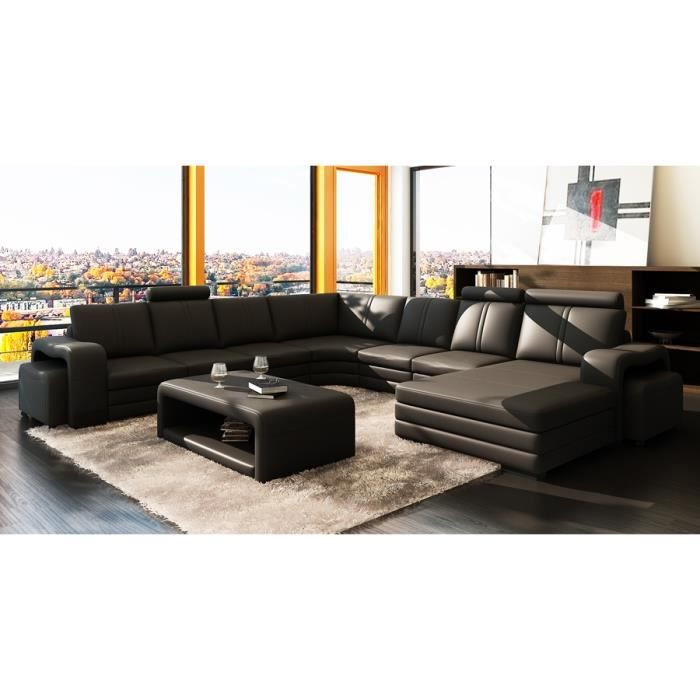 canap d 39 angle panoramique cuir noir 10 places hav achat. Black Bedroom Furniture Sets. Home Design Ideas