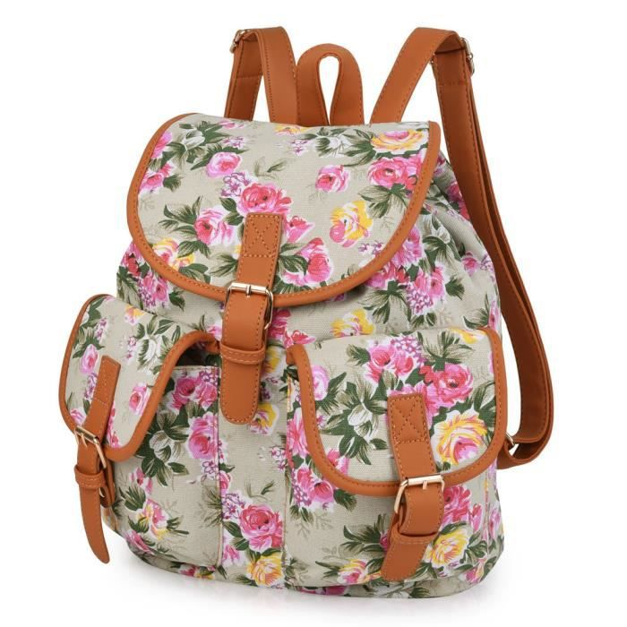 Flowers Orange À Dos Sac Canvas FemmeJaune Pour Achat Casual 4jLR5A