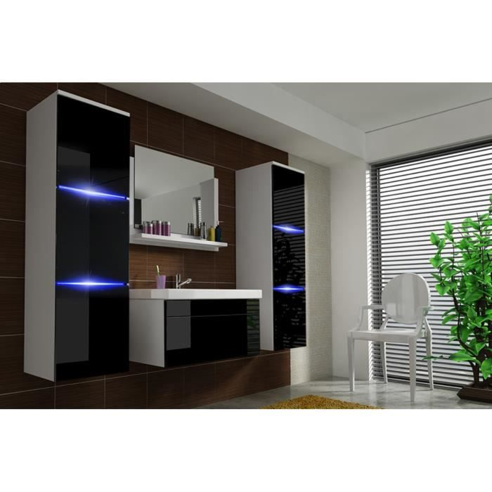 salle de bain compl te luna blanc et noir fa ade laqu brillante high gloss led vasque en. Black Bedroom Furniture Sets. Home Design Ideas