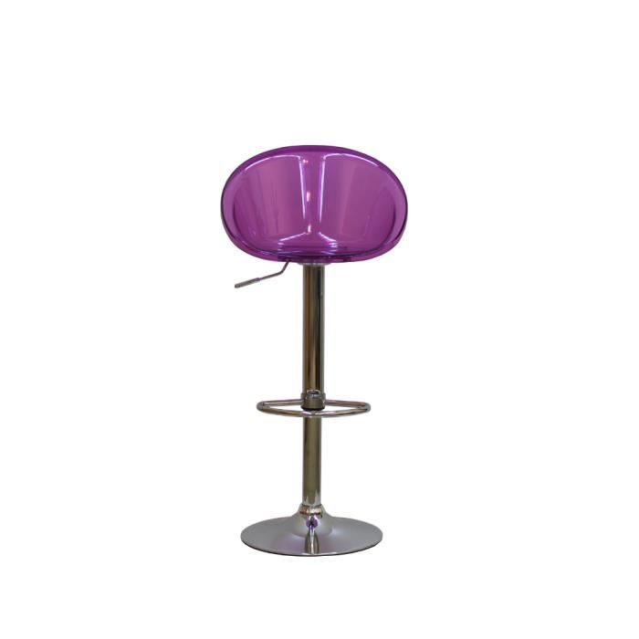 tabouret de bar moderne fielding transparent mauve achat vente tabouret de bar polycarbonate. Black Bedroom Furniture Sets. Home Design Ideas