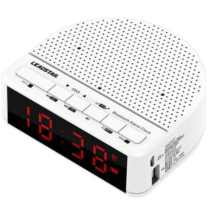 Leadstar Mx-17 Radio Réveil Led Alarme Bluetooth Subwoofer Fm Portable Blanc