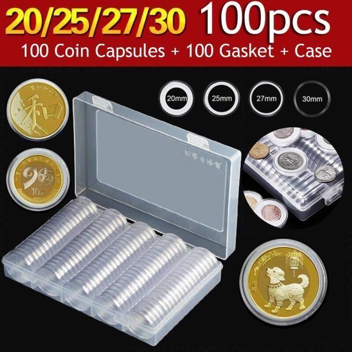 La pièce de monnaie en plastique ronde de 30mm capsule la boîte de collection de