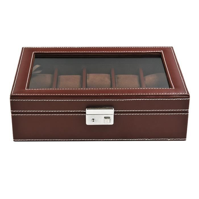 coffret boite 10 montres facon sellier marron achat. Black Bedroom Furniture Sets. Home Design Ideas