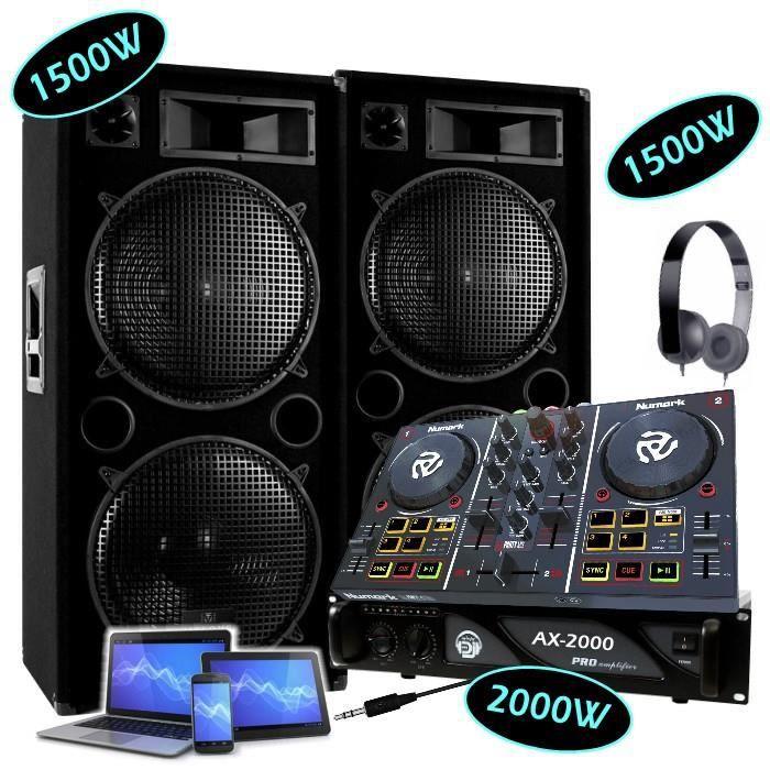 PACK SONO PACK DJ 2 ENCEINTES 2x1500W Max + 1 AMPLI 2000W +