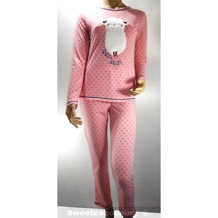 pyjama femme hiver molletonn doux et chaud rose rose rose achat vente pyjama cdiscount. Black Bedroom Furniture Sets. Home Design Ideas