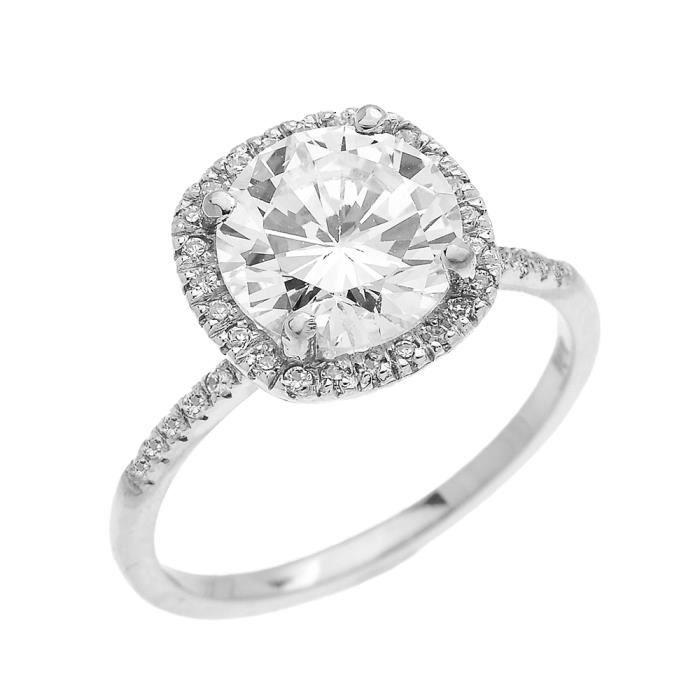 BAGUE - ANNEAU Bague Femme Diamant Coussin Forme Et Oxyde De Zirc