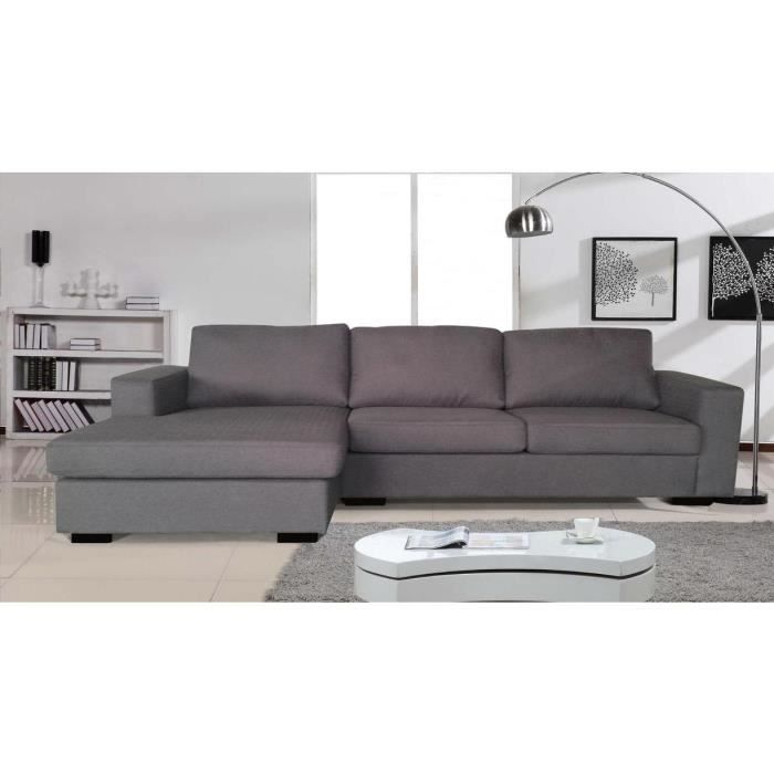 canap d 39 angle r versible angle r versible gris achat vente canap sofa divan cdiscount. Black Bedroom Furniture Sets. Home Design Ideas