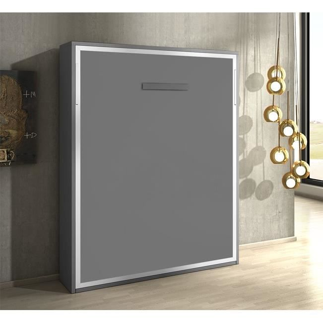 armoire lit escamotable joy gris mat 140x200 achat vente lit escamotable soldes cdiscount. Black Bedroom Furniture Sets. Home Design Ideas