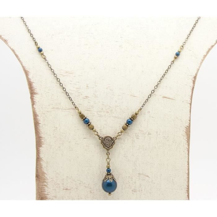 Womens Petrol Blue Swarovski Simulated Pearl Necklace F3H30