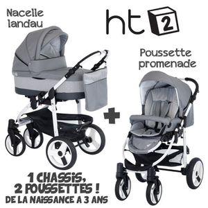 POUSSETTE  Poussette Combinée Duo 2 en 1 HT2 Gris - Cristaux