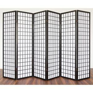 PARAVENT PAR06048 Paravent - 6 panneaux en bois noir et pap
