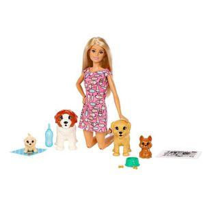 POUPÉE Barbie coffret poupée et ses 4 chiens, dont 2 figu