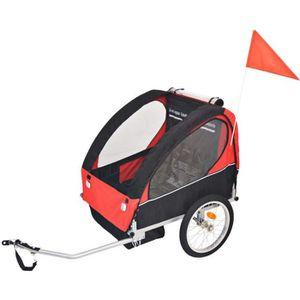 REMORQUE VÉLO Remorque de vélo pour enfants rouge et noire 30 kg