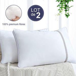 OREILLER BedStoryLot de 2 oreillers Volumineux 50x70 cm bl