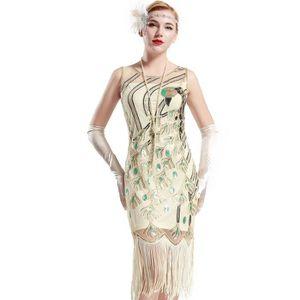 ROBE Femmes 20 de paon vintage Sequin Parti frangée Fla