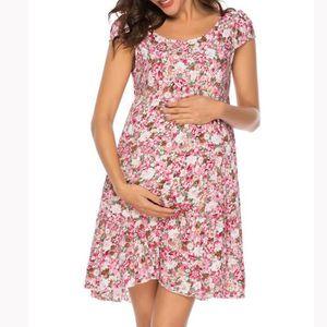 ROBE Robe de maternité sexy O-cou imprimé floral robe à