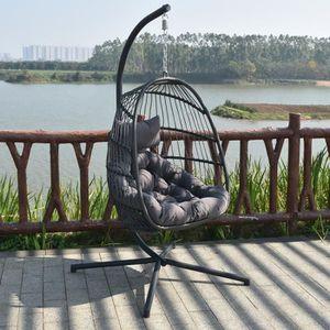 Balancelle de jardin en résine tressée fauteuil œuf suspendu ...