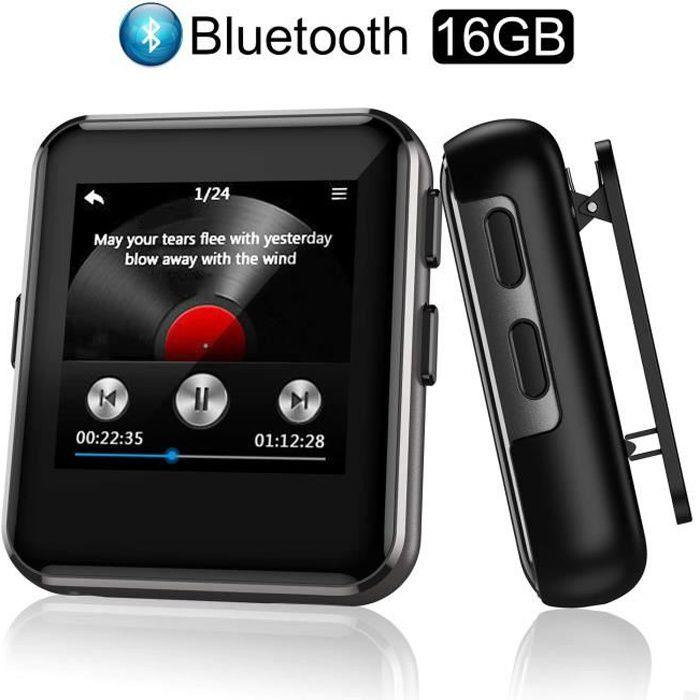 Arbily Lecteur MP3 Bluetooth, 16 Go Lecteur de Musique Hi-FI Lossless Sound avec Écran Tactile de 1,54- E-Book Vidéo