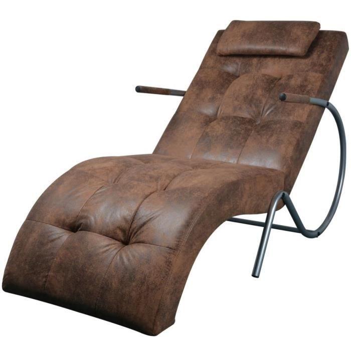 INGSHOP© Chaise longue avec coussin Marron Tissu daim